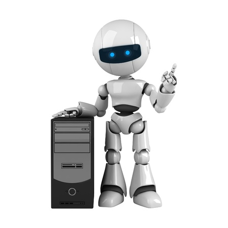 stay: Funny white robot stay with computer