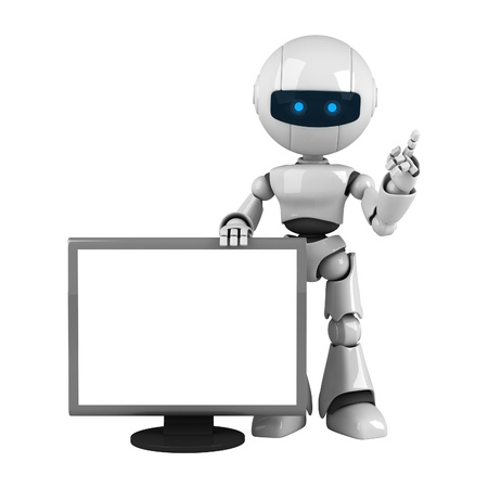 robot: Funny white robot stay with monitor