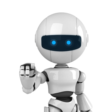 indicates: Funny robot stay and point