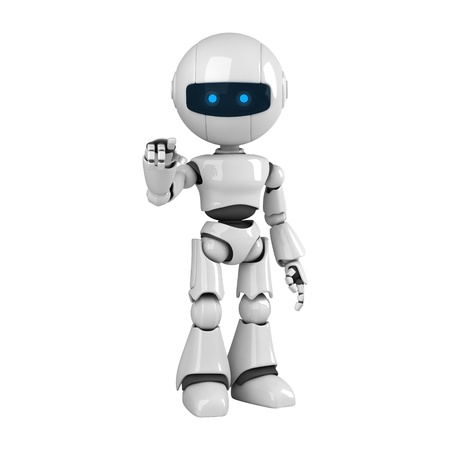 Funny robot stay and point Stock Photo - 10065316