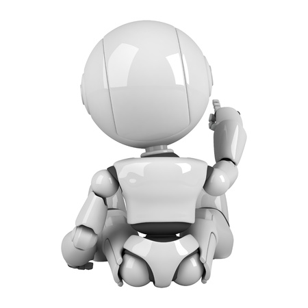 Funny robot sit  Stock Photo - 10065464