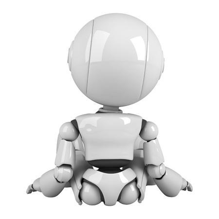Funny robot sit Stock Photo - 10042440