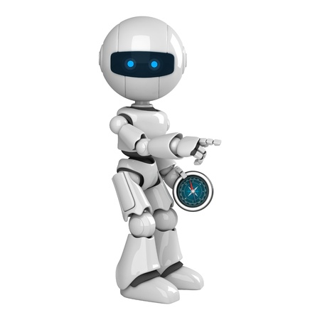 stay: Funny robot stay with compass  Stock Photo