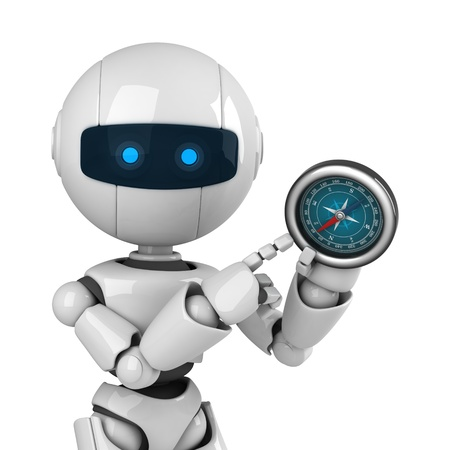 funny robot: Funny robot show compass  Stock Photo