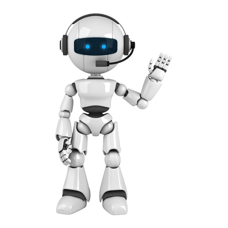 talking robot: Funny robot stay with headphones and show hello