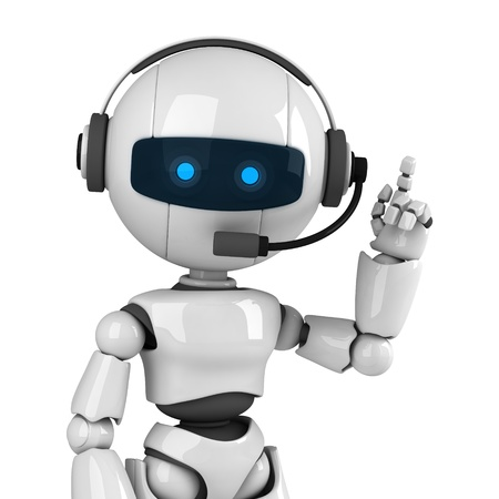 Funny robot stay with headphones photo