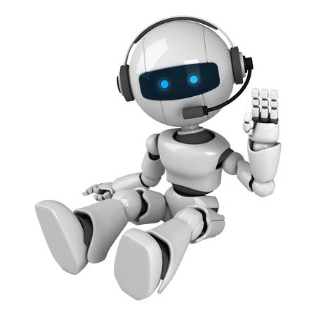 Grappige robot zitten met een koptelefoon
