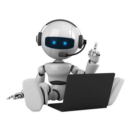Funny robot sit on headphones and notebook