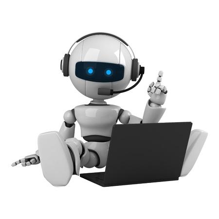 Grappige robot zitten op koptelefoon en notebook