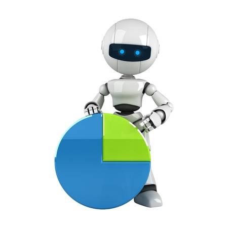 Funny white robot sit with graph