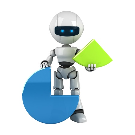 Funny white robot sit with graph Stock Photo - 10042452
