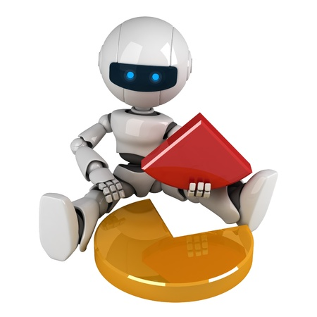 Funny white robot sit with graph Stock Photo - 10042486