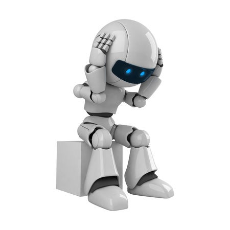 funny robot: Funny robot sit  Stock Photo