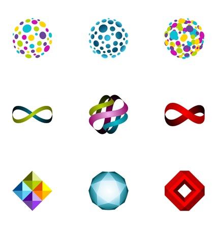 merken: Logo ontwerp elementen set 20 Stock Illustratie