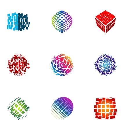 logotipo abstracto: Elementos de dise�o de logotipo set 17 Vectores