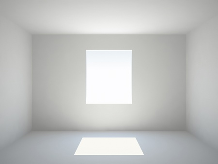 single rooms: Empty white room with window Stock Photo