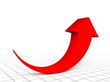 Gráfico de la flecha roja Foto de archivo