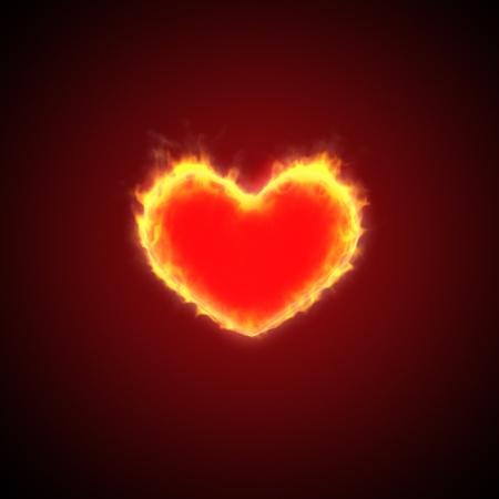 heart burn: Fire burn heart background Stock Photo