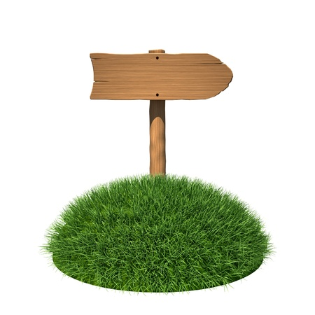 three pointer: Wooden signboard on grass land