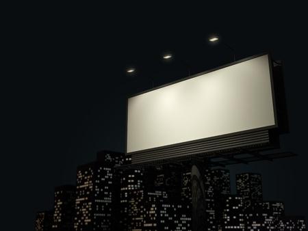 Empty billboard en arrière-plan de nuit