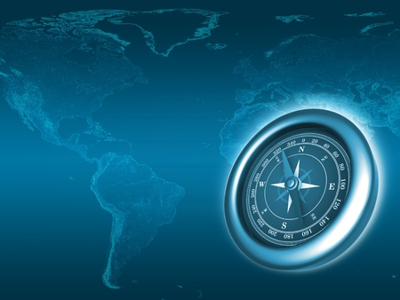 Earth map background with compass