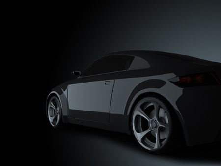 shiny black: 3d render sport car