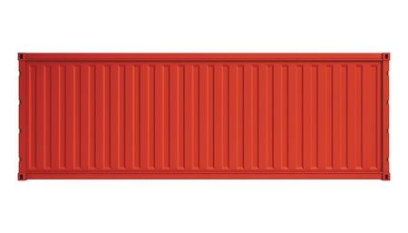 containerschip: Rode container geà ¯ soleerd op wit