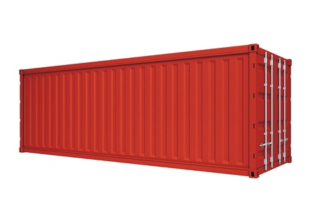cargo container: Red container isolated on white Stock Photo
