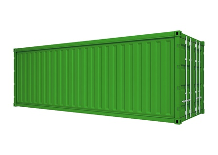 consignment: Green container isolated on white