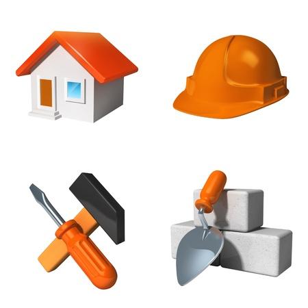 Construction icons set isolated on white photo