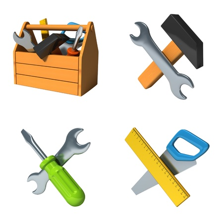 Construction icons set isolated on white photo