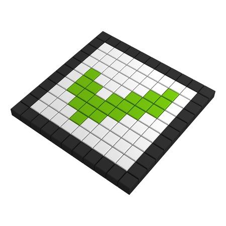 checkbox: 3d casella di controllo Icona pixel Archivio Fotografico