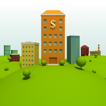 cartoon bank: Cartoon town background with bank Stock Photo