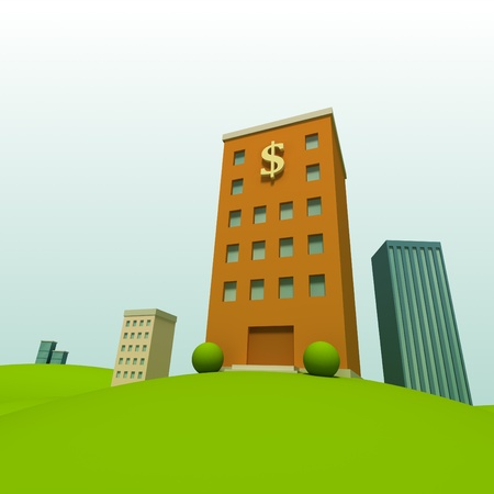 Cartoon town background with bank photo