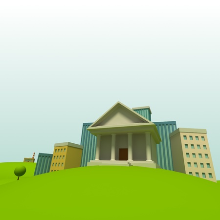 law library: Cartoon town background with court