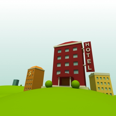 cartoon bank: Cartoon town background with hotel