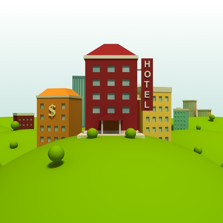 Cartoon town background with hotel Stock Photo - 10098465