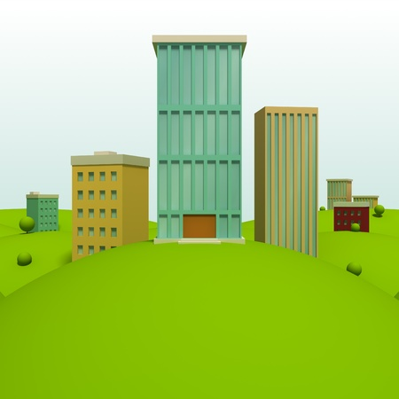 green buildings: Cartoon town background with skyscraper