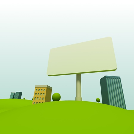 house exchange: Cartoon town background with billboard