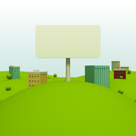 Cartoon town background with billboard photo