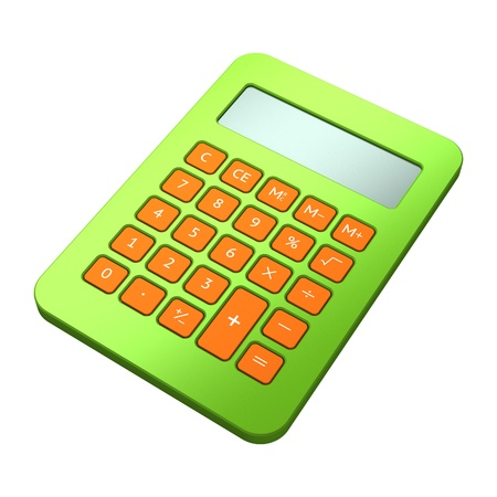 Green calculator on white background Stock Photo - 10130214