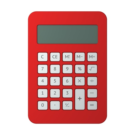 Red calculator on white background photo
