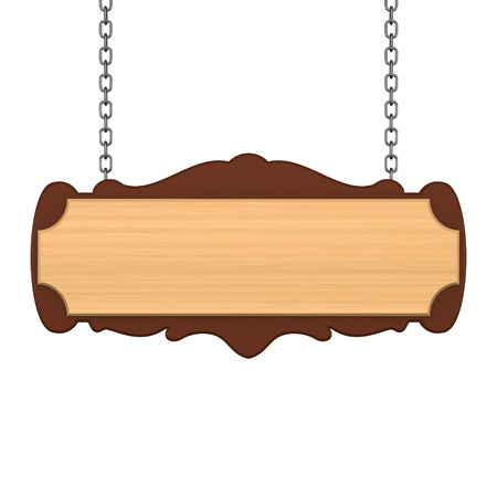 Wooden signboard with chain Stock Photo - 10130222