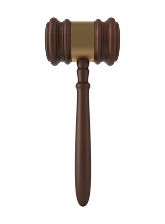 judgments: Judge gavel isolated on white