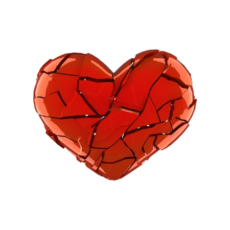 Broken red heart shape isolated on white photo