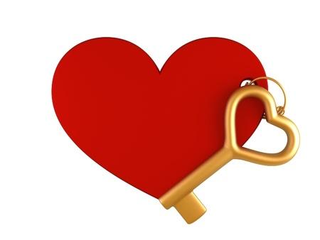keychain: Heart keychain with gold key
