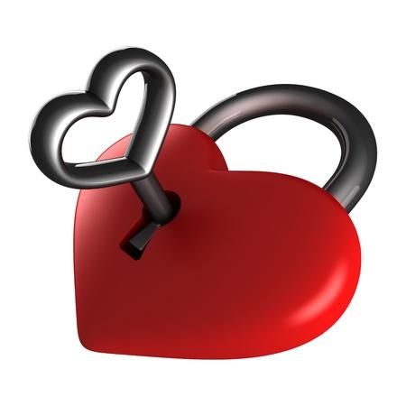 keys isolated: Heart lock isolated on white
