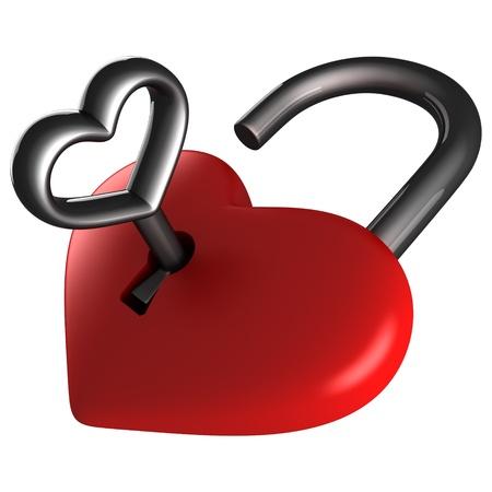 Heart lock and key photo