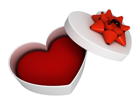 Gift as heart open with bow isolated on white photo