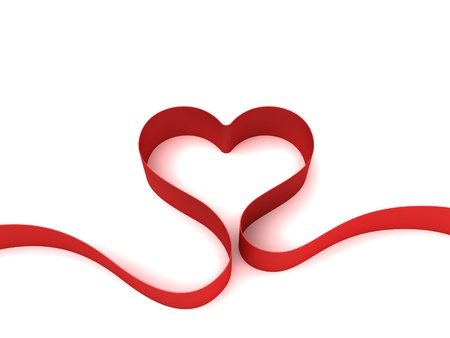 ribbon heart: Heart from ribbon isolated on white background Stock Photo